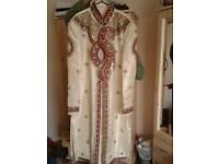 Men's cream, gold & red sharwani suit