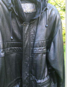 Men's black leather winter jacket