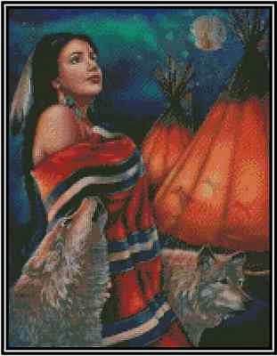 Native American with Wolves Counted Cross Stitch Chart #21-136