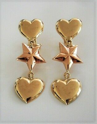 Vintage 18k Yellow Gold Dangling Hearts & Rose Gold Star Earrings 750 Orobase Gold Star Heart