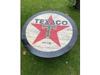 UPCYCLED COFFEE TABLE,TEXACO LOGO,SUIT MANCAVE,BAR etc