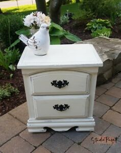 Painted Country Farmhouse Chic Night End Table
