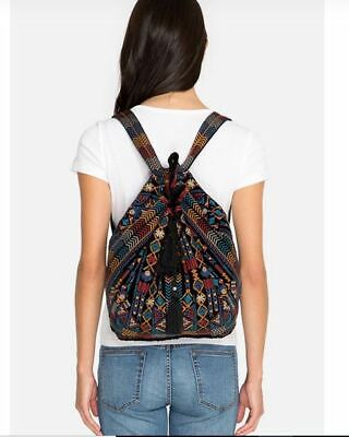 Johnny Was Cleo Velvet Drawstring Backpack Tote Purse #J03118 New Boho Chic