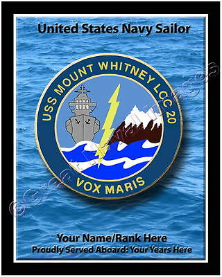 (USS Mount Whitney LLC 20 Personalized Ship Crest Print on Canvas 2D Effect)