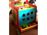 Lovely wooden pusher & activity cube - Mothercare