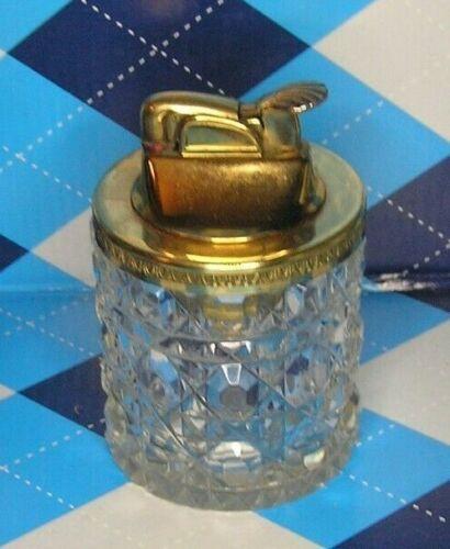 Vg ~ Heavy Crystal / Glass & Brass Evans Untested Art Deco Desk / Table Lighter