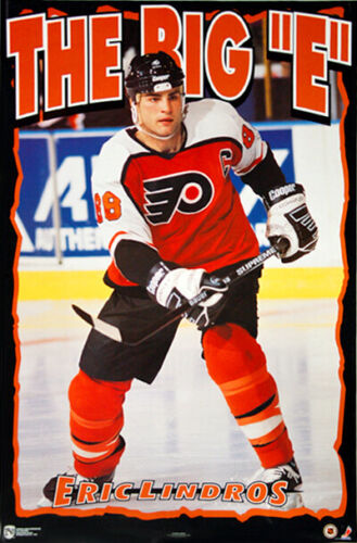 70bb129a4f0 Details about Eric Lindros THE BIG E Philadelphia Flyers 1995 POSTER  (Norman James Corp.)