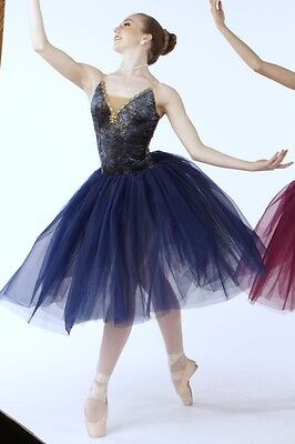 Ballet Costume Navy Gold Gilded Velvet Romantic Rhineston...