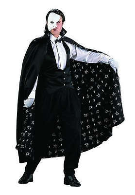 ADULT MENS PHANTOM OF THE OPERA COSTUME SATIN VEST CAPE MASK ERIK BLACK  - The Phantom Of The Opera Costume