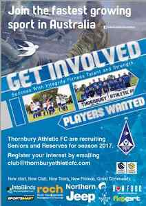 Senior and Junior soccer players wanted. THORNBURY ATHLETIC FC Reservoir Darebin Area Preview