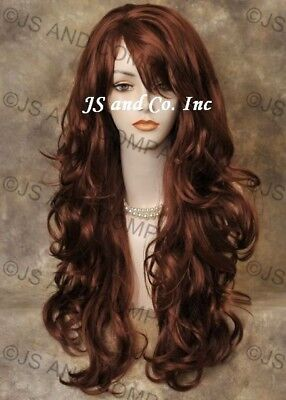 STRIKING! Long Wavy Curly Red Layered wig with bangs, Stunning win130 Hair piece (Long Red Wig With Bangs)