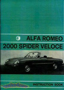 ALFA ROMEO SPIDER VELOCE OWNERS MANUAL HANDBOOK GUIDE BOOK 2000 1972-1979 GTV GT