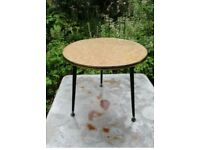 Fab Vintage Retro Round Side Coffee Table w/ glass top Cork Leather & Dansette