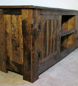 Rustic Style Solid Wood Media Center