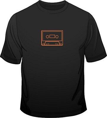Audio C90 Cassette Tape Fluorescent Print Retro Music Mens Fit 80's T Shirt
