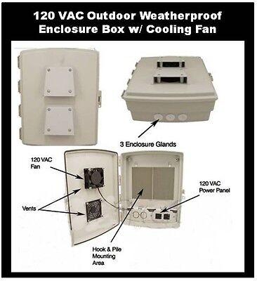 Enclosure With Cooling Fan 120 Vac Outdoor Cabinet Box - Weatherproof Waterproof