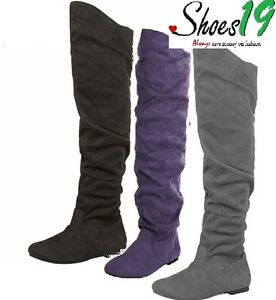 Sexy-Thigh-High-Over-the-Knee-Rubber-sole-Slouch-Flat-Heel-Boots-Women-Shoes