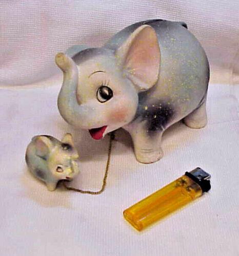 Mid Century Mother & Baby Elephant Coin Savings Bank Ceramic Japan