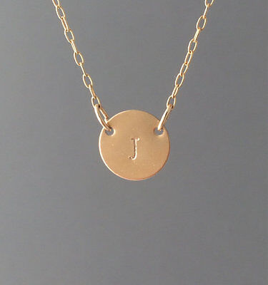 Double Connected Gold Fill Stamped Initial Disc Necklace also Rose and (Gold Initial Disc)