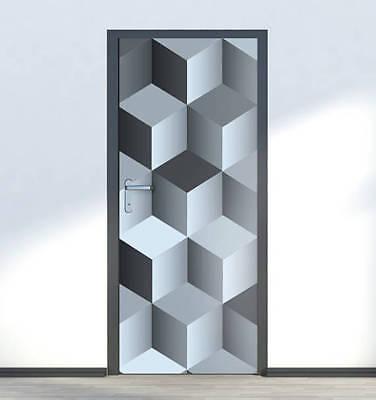 3D Cubes Door Wrap mural Stickers Self Adhesive Peel and Stick Vinyl Wallpaper