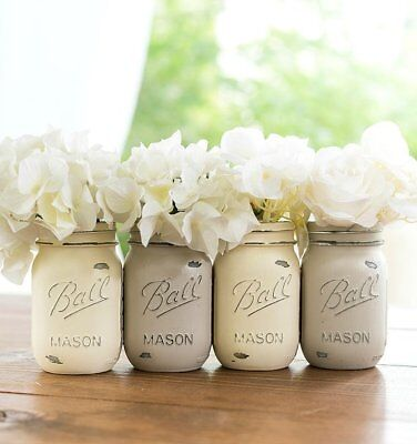 (Boho Mason jar decor distressed set of 4 wedding decor tablescape decor wedding)
