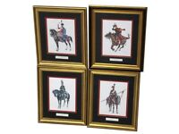 A Set Of Four Prints After L&F Funcken Depicting European Mounted Cavalry Men