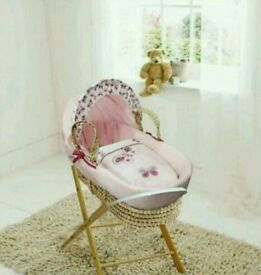 Buy kinder valley pink Butterfly moses basket with FREE opal Folding stand. Brand new.