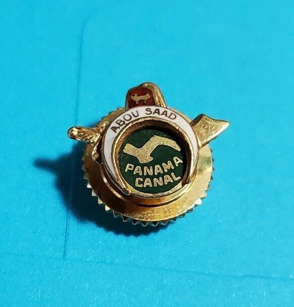 Vintage Panama Canal Abou Saad 10K Gold And Enamel Pin Screw Back 2 Grams