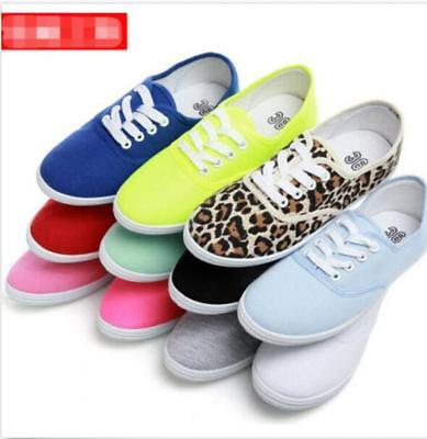 Womens Chic Round Toe Lace Up Soft Sole Sneakers Casual Canvas Flat Heel  - Flat Sole Sneakers