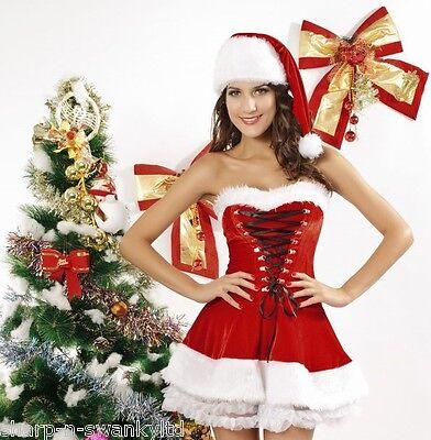 Damen Miss Sexy Santa Trägerlos Velvet Mrs Weihnachtskostüm (Damen Mrs Santa Kostüm)