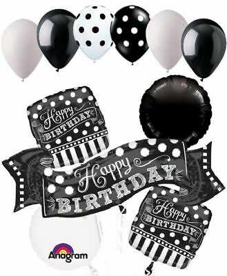 Black And White Striped Balloons (11 pc Black & White Polka Dot & Stripe Balloon Bouquet Decoration Happy)