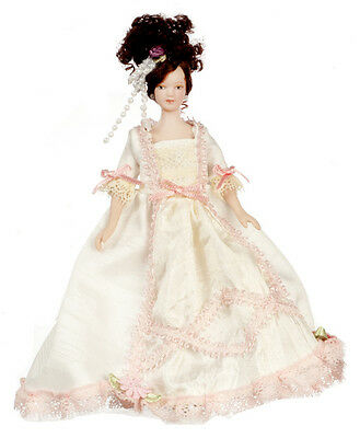 Dollhouse Miniature Doll Mother Victorian Porcelain Peach & Cream Dress 1:12