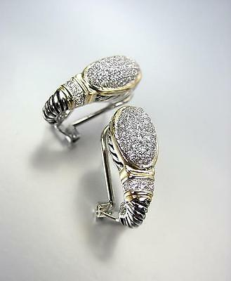 CLASSIC Balinese Silver Cable Gold Pave CZ Crystals Oval Omega Latch Earrings segunda mano  Embacar hacia Argentina
