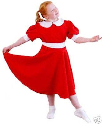 Annie Kleid Kostüm (Waise Annie rotes Kleid Kostüm Outfit alle Größen)