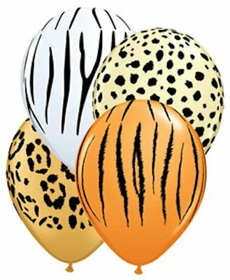 10 pc Safari Latex Balloon Party Decoration Leopard Tiger Zebra Cheetah Birthday