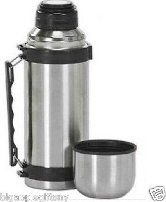 Vacuum Stainless Steel Insulated Coffee Soup Bottle thermo  w. Handles1 Liter