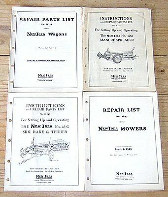 New Idea Farm Equipment Instructions Manure Spreader Tedder Mowers Wagons Repair