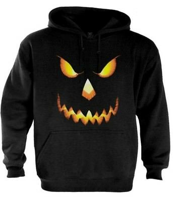 Pumpkin Halloween Hoodie For Men - Evil Face Scary Funny Easy Costume Pullover