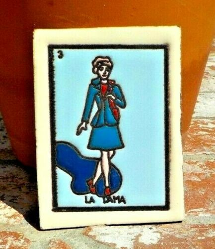 LA DAMA LADY LOTERIA RED CLAY TILE 3 IN x 4 IN  MEXICO WITH FREE SHIPPING