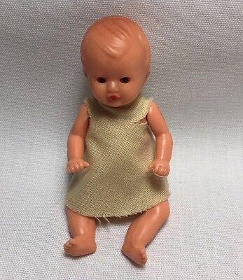 Vintage Dollhouse Baby Girl Plastic Doll ES Emil Schwenk Germany Sleep Eyes