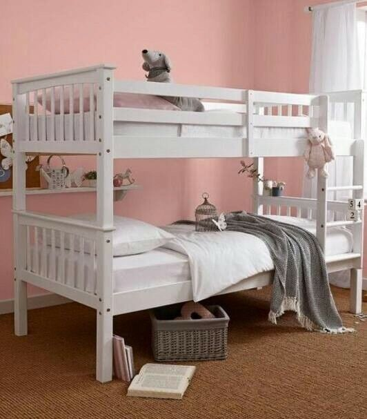 Solid, pure white, wooden, bunk bed, with, thick, ortho, Mattress.