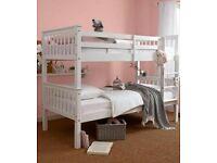 Solid, Snow White, bunk beds, heavy duty, sturdy, x 2, Singke, 3ft, mattress,