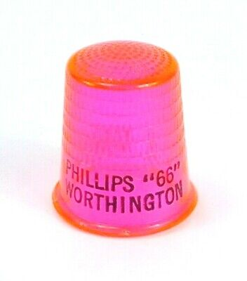 """Vintage PHILLIPS """"66"""" D.R. MARTIN Neon PINK Worthington Minnesota THIMBLE"""