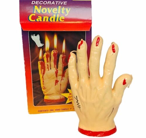 Halloween Candle vtg bleeding wax hand creepy nib dripping red blood horror evil