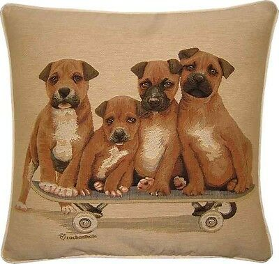 Staffordshire Bull Terrier Puppies on Skateboard Woven Tapestry Cushion Cover Bull Terrier Tapestry