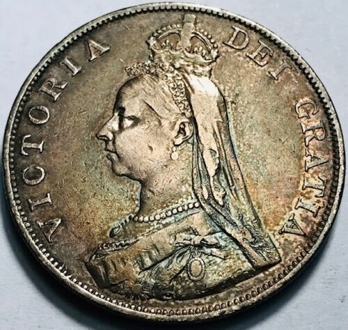 GREAT BRITAIN - Queen Victoria - Double Florin 1890 -Beautifully Toned Very Fine