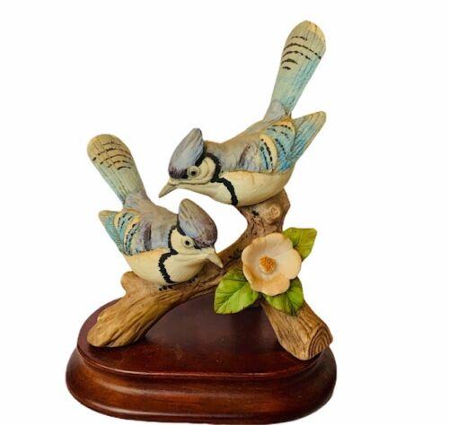 Blue Jay figurine Lefton vtg japan sculpture porcelain bird flower bluejay pair