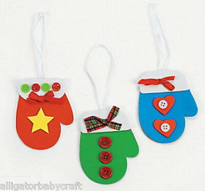 1 Winter Mitten Ornament Craft Kit for Kids Boys Girls Blue Red or Green ABCraft - Winter Crafts For Kids