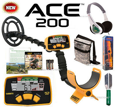 NEW Garrett ACE 200 With CAMO POUCH, HEADPHONES, PRO-POINTER AT & DIGGER !