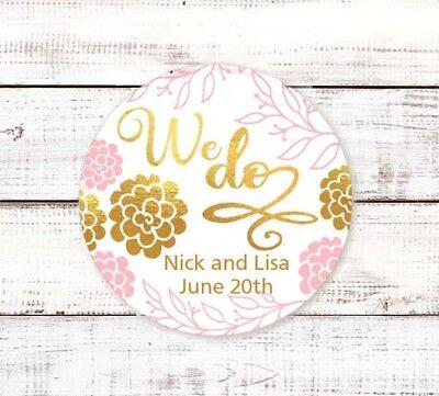 We Do - Round Personalized Bridal  Wedding Shower Sticker Labels - Personalized Wedding